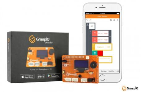 e络盟推出GraspIO Cloudio—一款Raspberry Pi扩展板,配有移动平台,适用于端对端物联网开发和部署