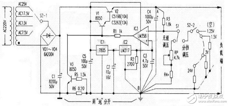 大电流可调稳压电源电路