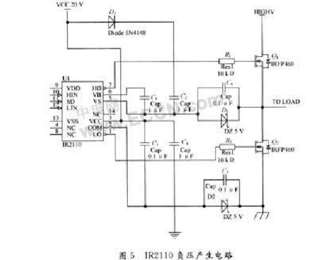上面2种方法已经得到了广泛的应用,但是也有他的缺点,首先电路比最简单的应用电路要复杂的多,其次所用的器件数目增多,成本增加,再次效果也并不是非常好,这主要是因为IR2110芯片本身很容易受到开关管的影响。   负载增大,电压升高,IR2110的输出波形就会变得很混乱,所以用常规的变压器隔离和IR2110结合起来使用其电路图如6所示,这种电路结合了经典电路的部分内容,大大地减小了负载对驱动的影响,可以用于大功率场合,电路也比较简单,非常实用。    其工作原理为:电源电压为20V,在上电期间,电源通过R