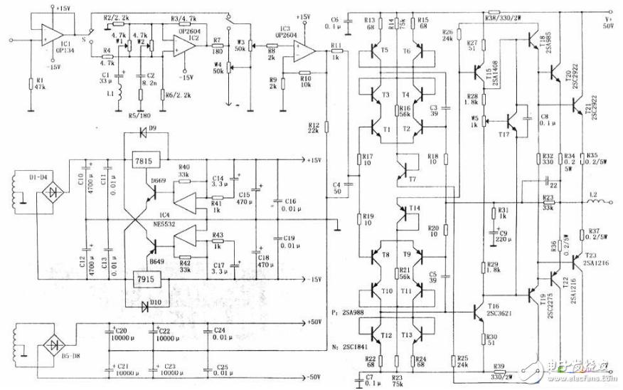 全对称ocl功放电路图(四款全对称ocl功放电路设计原理图详解)