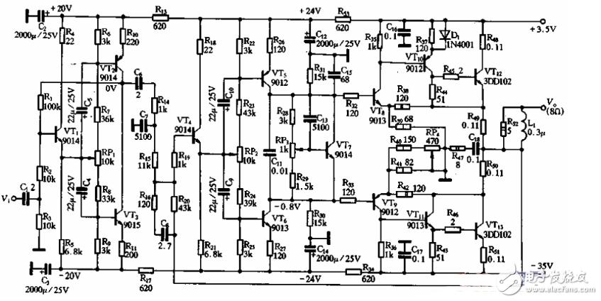 最简单的单差分OCL功放电路图(四款单差分OCL功放电路设计原理图详解)
