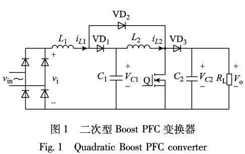 储能电感对二次型Boost PFC变换器的性能影响
