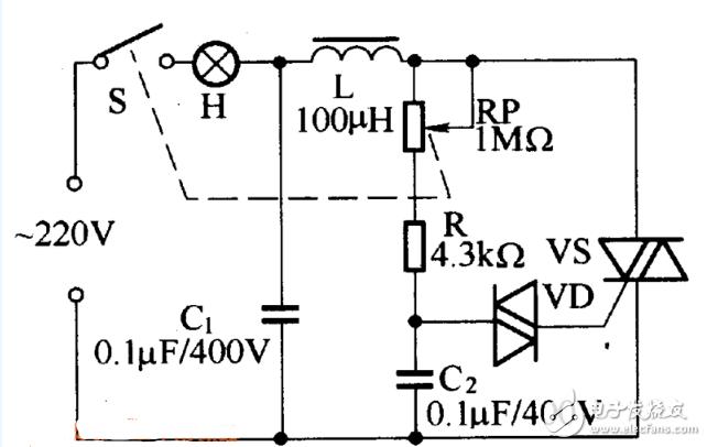 双向晶闸管调光台灯电路图片