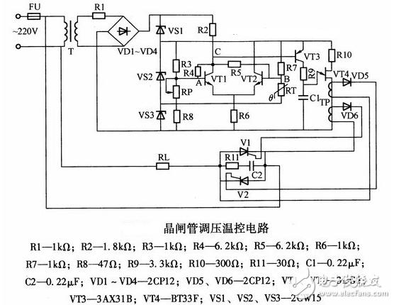 晶闸管简单调压电路图大全(六款晶闸管简单调压电路原理图详解)