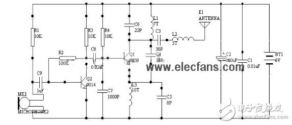 1000米无线发射电路图大全(单管振荡C8050/高频三极管/T630调频发射电路详解)