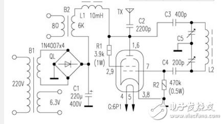 电子管发射机电路图大全(6Pl电子管/调频发射机电路图详解)