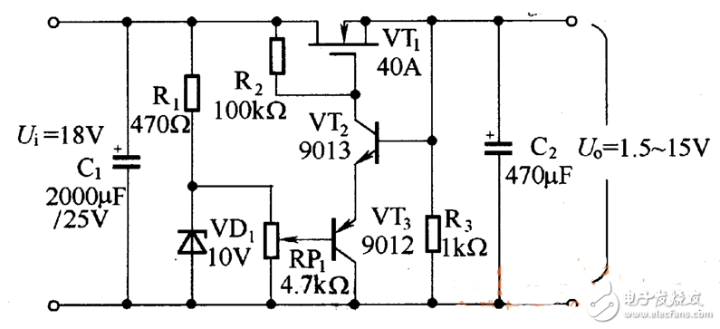 场效应管稳压电路图大全(稳压电源/MOS管稳压电...