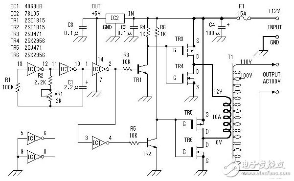 直流變交流簡易電路圖大全(場效應晶體管/逆變電源/MOS場效應管變換電路詳解)