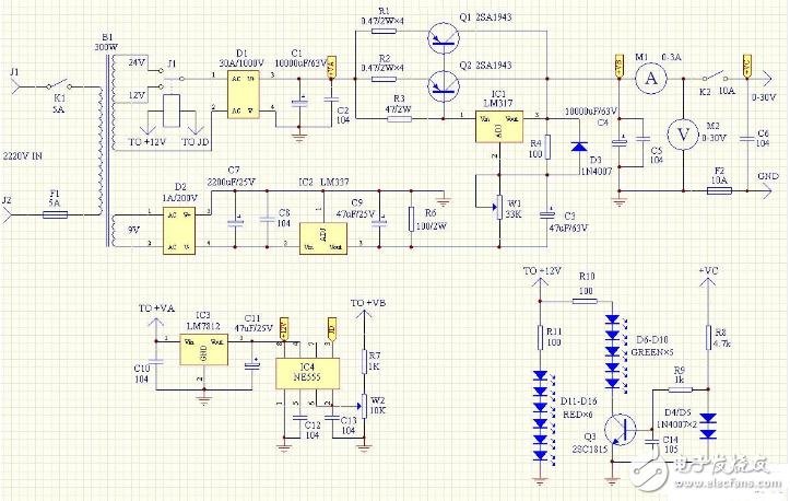0到60v可调电源电路(稳压电源/LM723稳压...