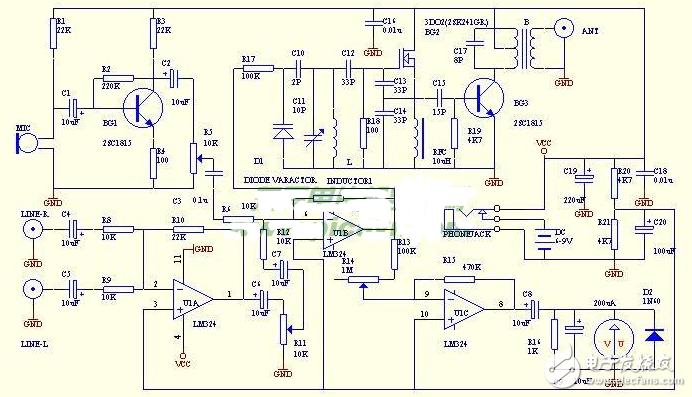 調頻(FM)發射機電路圖大全(調頻收音機/調頻中頻/兆瓦無線電發射機電路圖詳解)