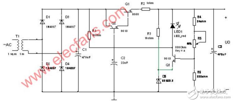 串联型稳压电路图大全(负反馈/精密串联型/直流稳压电源电路图详解)