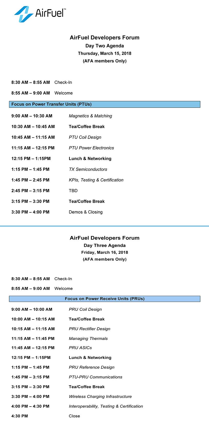 AirFuel无线充电大会暨开发者论坛完整日程抢先出炉