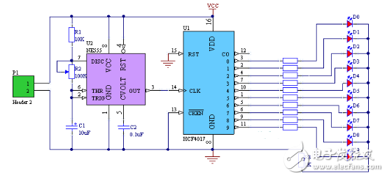 小型心形流水灯电路图大全 89c52 CD4017心形流水灯电路图