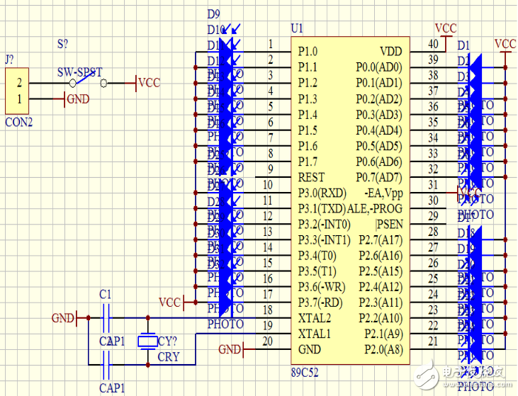 小型心形流水灯电路图大全(89c52/CD401...