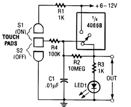 cd4066典型应用电路图(双向模拟开关/电子开关/音响发声电路图详解)