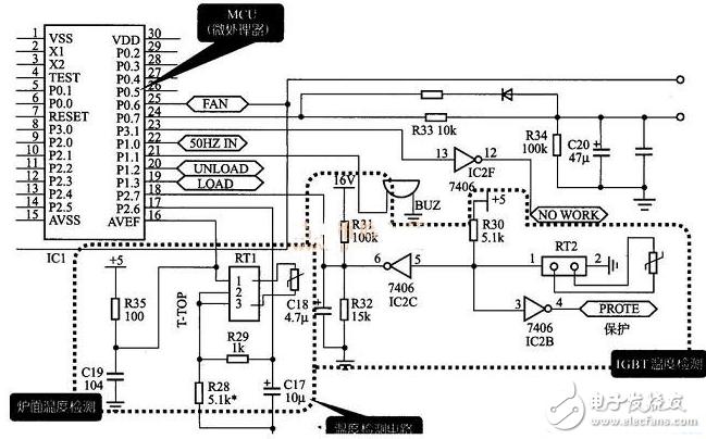 電磁爐溫度檢測電路圖大全(高頻/IGBT/傳感器溫度檢測電路詳解)