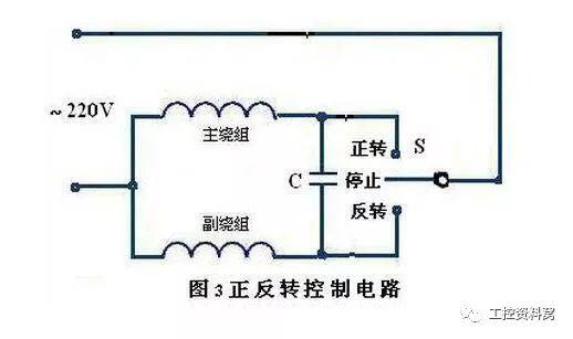 单相电动机主副绕组接线示意图