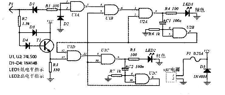 ,与非门ICC、R4、C2组成1振荡器,R3、Cl或R4、C2取值不同时,振荡器的频率也不同。ICB的脚和ICC的脚是控制端,加高电平1时振荡器工作,输出矩形波。该逻辑笔的检测状态为:   (1)当探针T未检测或检测到悬空状态时,I.CA输出0(一般认为逻辑门输入端开路时,输入为1)。同时VT截止,ICC的脚被R2下拉为0,0振荡器和l振荡器均停振,ICD无输出,蜂鸣器HTD不发声:   (2)当探针T检测到0时,VT截止,ICC的脚为0,l振荡器不工作。