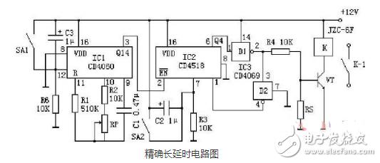 1到10s可调延时电路图大全(CD4060/NE555时基集成延时电路详解)