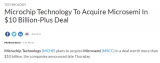 Microchip计划以超过100亿美元的价格收购Microsemi