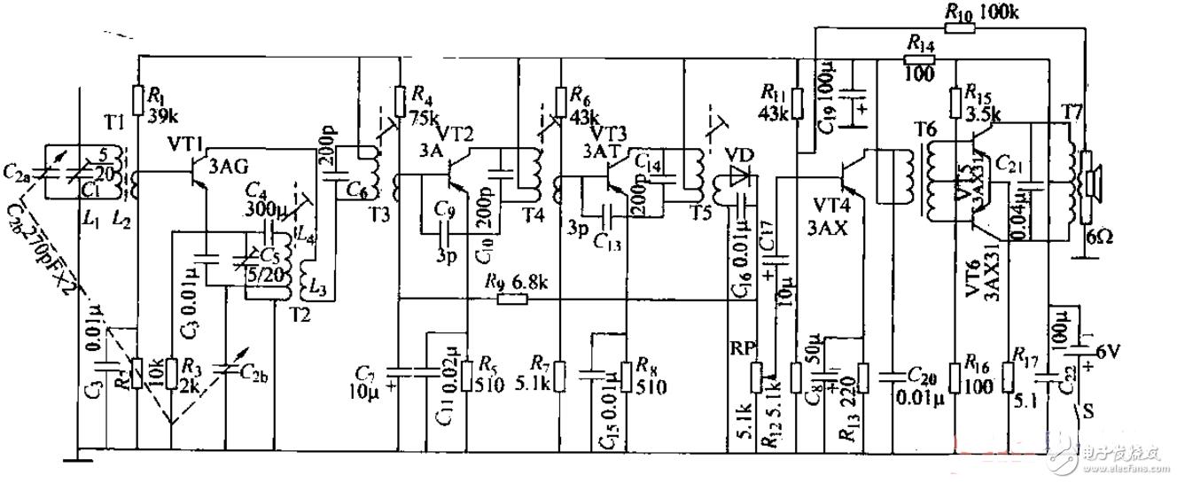 晶体管收音机电路图大全 超外差式 CMOS 变频电路详解
