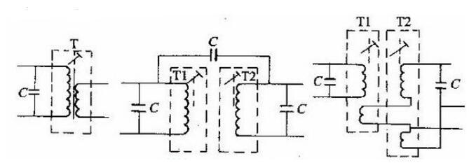 中周变压器有单调谐回路和双调谐回路两种,其耦合方式可以是电感耦合,也可以是电容耦合。其调谐方式有调感式和调容式两种。目前晶体管收音机和黑白、彩色电视机中大量采用的是调感式的,通过调节线圈内的磁芯以改变电感量,从而调整其谐振频率。晶体管收音机中的调感式中周常用单调谐式,即只在初级并联一个电容组成调谐回路,另一个回路不并联电容,如图(a)所示;对于要求较高的电路需用双调谐式,即双调谐中周初、次级都并联有电容器,均可调谐。两个回路之间有的采用电容耦合,有的采用电感耦合,分别如图(b)和(c)所示。   小型