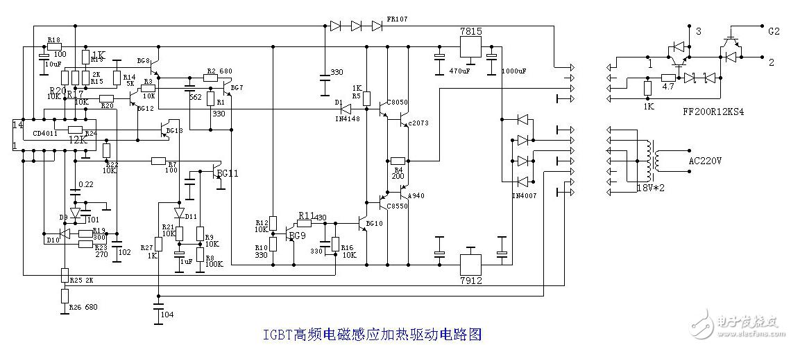 IGBT高频电磁感应加热 简单的电磁加热电路图大全 加热开关控制 变频电源电路图详解