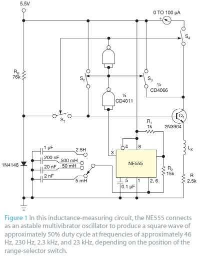 使用晶体管和电流表来测量电感
