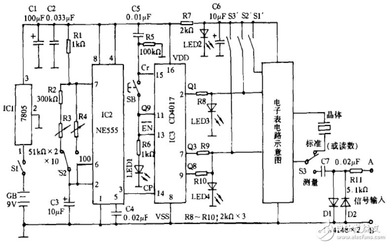 简易数字频率计电路图大全