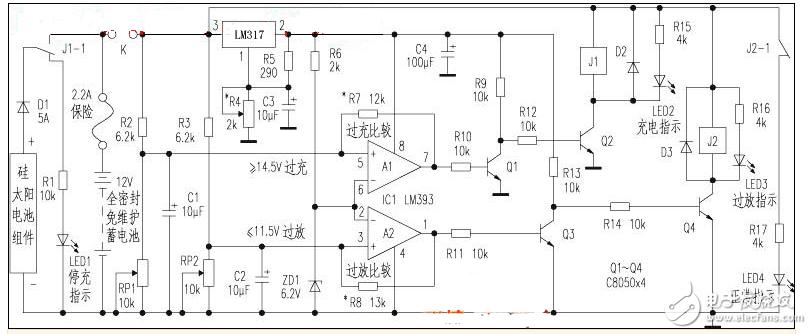 太陽能控制器電路圖大全(LM393/電源/PIC12F675單片機控制器)