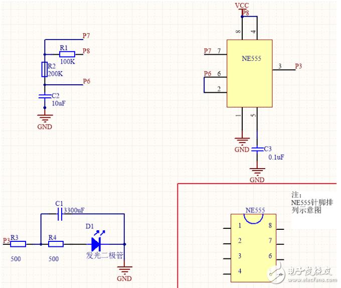 ne555呼吸灯电路图大全 三款NE555脉冲LED灯电路详解图片
