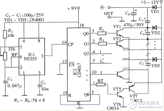 直流二倍压升压电路图(CD4069/LTC3786/电容式倍压升压电路)