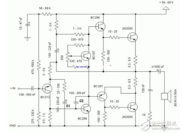 2n3055简易功放电路图大全(音频功率放大器/...