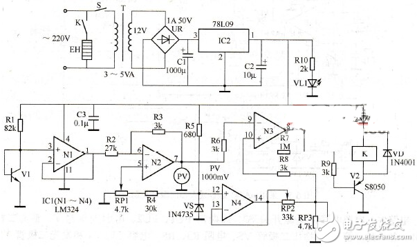 lm324应用电路大全(温度控制器/振荡器/带通...