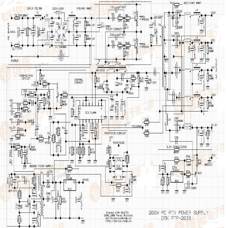 atx电源电路图讲解(五款atx电源电路图)