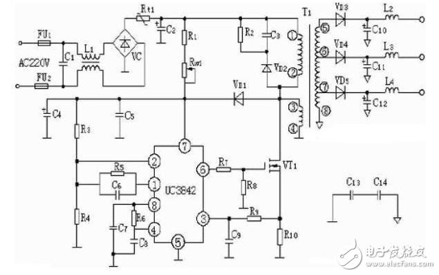 PWM芯片uc3842应用电路图汇总(开关电源电...