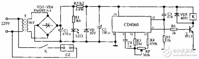 用CD4060制作闪光报警电路_cd4060应用电路图