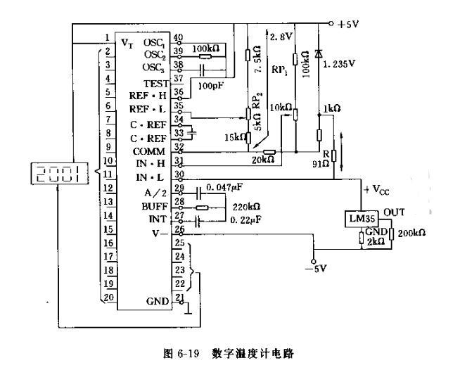 LM35与ICL7107构成的温度计电路图