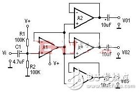 电压比较器LM324组成的电平测试电路- 简单电压比较器电路图大全(LM358