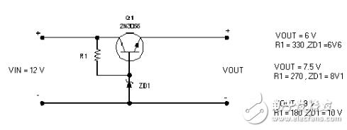三极管2N3055组成的简易DCDC降压电路图(...