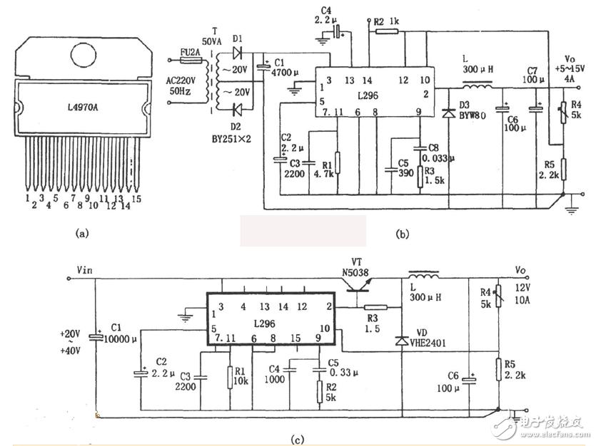 大电流开关电源电路图大全(L296/DC-DC变换/CF8865)
