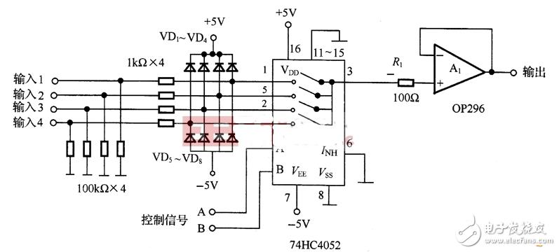 74hc4052应用电路图大全(多路复用器/多路音频切换电路)