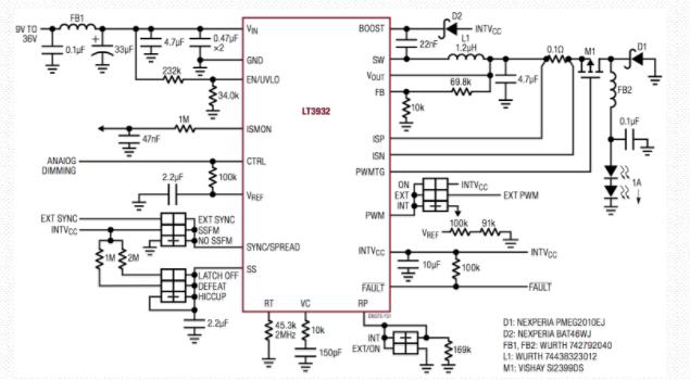 采用5000:1 PWM调光的36V,2A LED驱动器通过Silent Switcher架构满足CISPR 25 Class 5 EMI限制:采用线性设计的ADI功率注