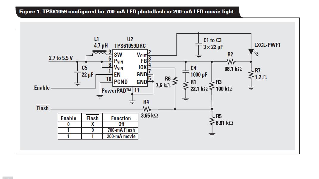 TPS61059白光LED供电用作闪光灯或影片照明介绍