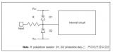 VDD和VSS并联钳位二极管和串联电阻进行保护