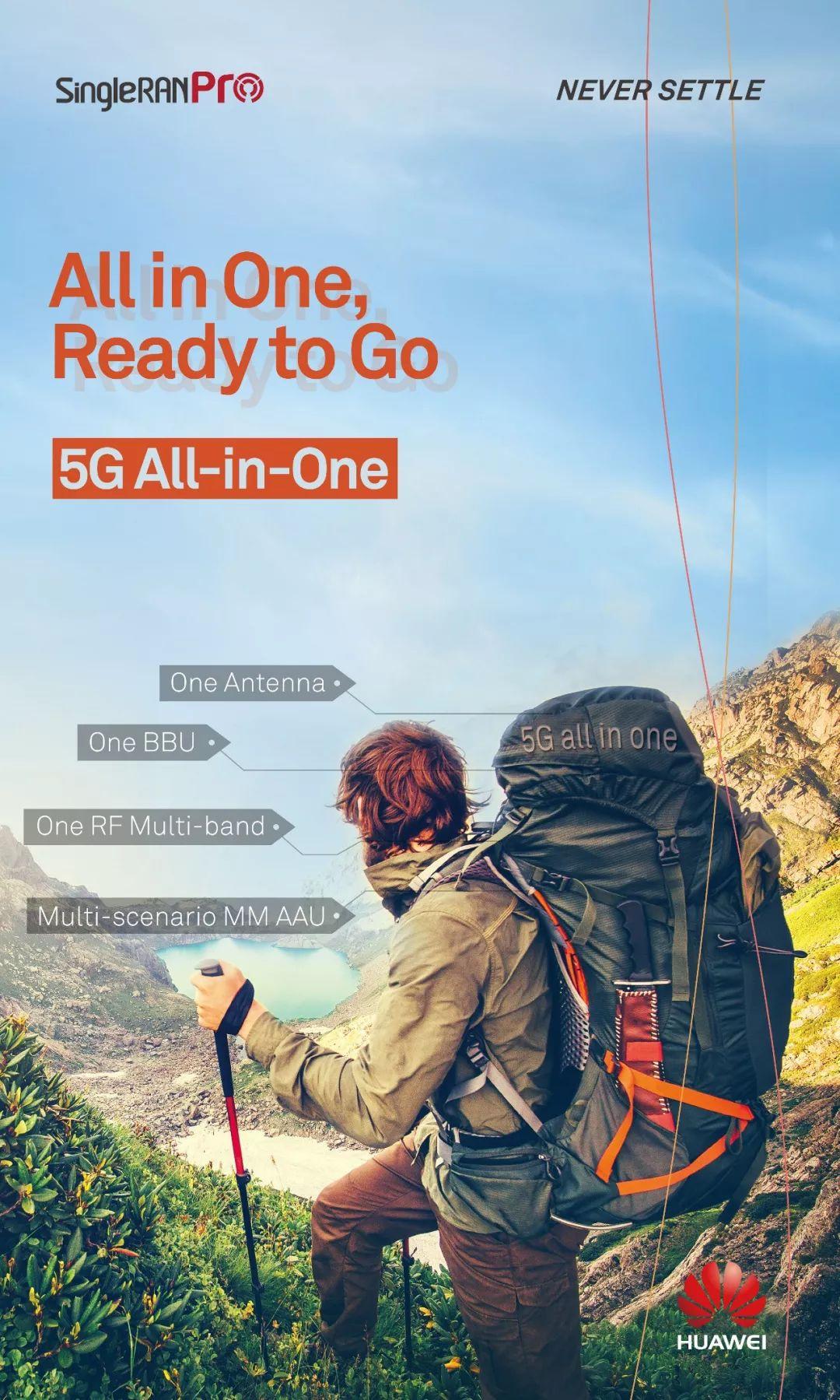 华为SingleRAN Pro解决方案,一张网支持5G兼容2G、3G、4G