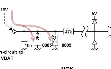 输入短路到地面或VBAT时,要特别注意静电流!