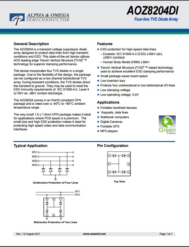 AOZ8204DItvs二极管资料文档下载.pdf