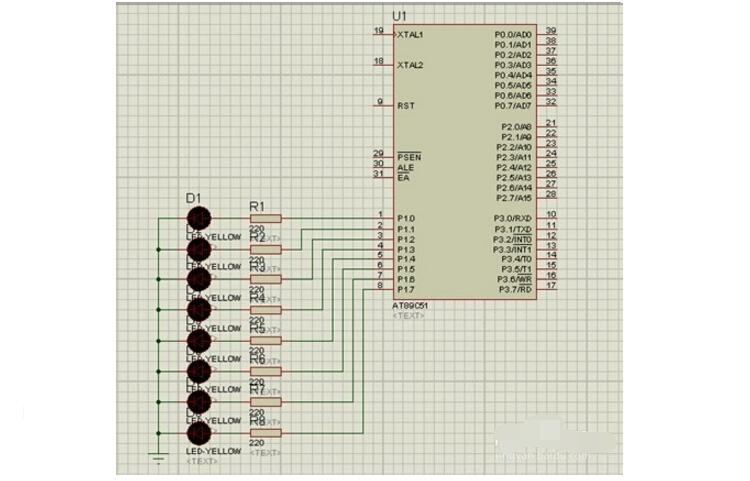 单片机控制花样流水灯原理图及程序