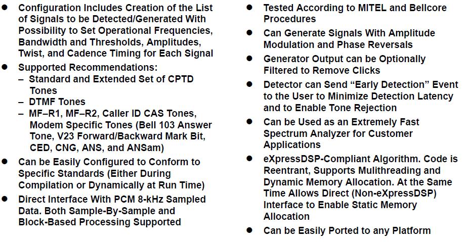 TMS320C54CST通用多音检测器生成算法的详细资料概述